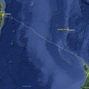 The 1,270nm route from Auckland, New Zealand to Southport, Australia across the infamous Tasman Sea.