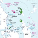 Boundaries of Hauraki Gulf Marine Park and locations of main island groups